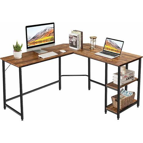 COSTWAY L-foermiger Schreibtisch, Homeoffice-Schreibtisch mit 2 Ablageflaechen, Computertisch mit Metallgestell & Fussstütze, Eckschreibtisch für Büro Schlafzimmer Studie