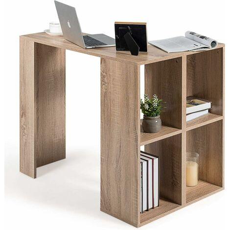 COSTWAY L-foermiger Schreibtisch mit Buecherregal, Eck-Computertisch mit stabilem Holzgestell, Bueroschreibtisch Arbeitstisch Buerotisch PC-Tisch