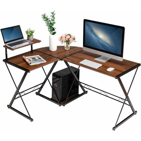 COSTWAY L-Form Computertisch Schreibtisch Computerschreibtisch Buerotisch Ecktisch Eckschreibtisch Winkelschreibtisch 147x112x79cm Braun