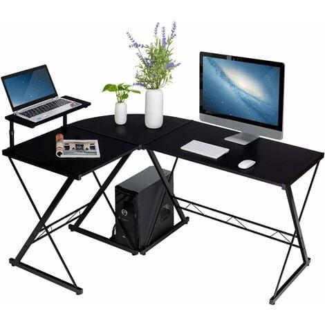 COSTWAY L-Form Computertisch Schreibtisch Computerschreibtisch Buerotisch Ecktisch Eckschreibtisch Winkelschreibtisch 147x112x79cm Schwarz