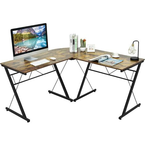 COSTWAY L-Form Computertisch Schreibtisch Computerschreibtisch Buerotisch Ecktisch Winkelschreibtisch 150x150x76cm Kaffee