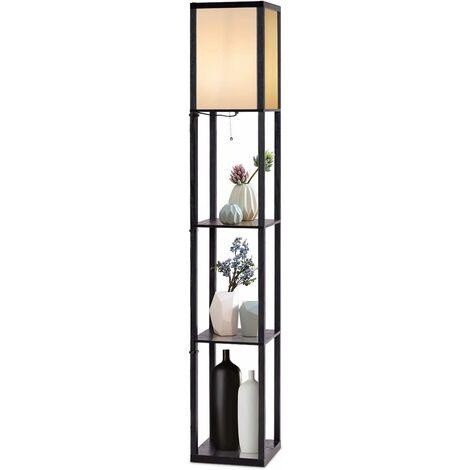 COSTWAY Lampadaire avec 3 Etagères de Stockage 1,6M Design Scandinave Lampe sur Pied pour Chambre et Salon (Ampoule non inclus) 220-240V,60W