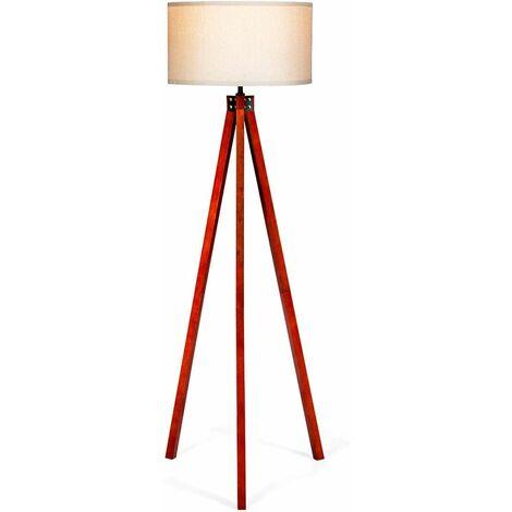 COSTWAY Lampadaire Trépied en bois 152,5CM avec Abat-jour en Lin, Commutateur au Pied Style Scandinave Lampe E27 pour Salon,Chambre