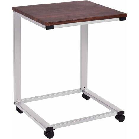 COSTWAY Laptoptisch mit Rollen, Beistelltisch Sofatisch Notebooktisch Pflegetisch Ablagetisch Metall + Holz 50x40x65cm