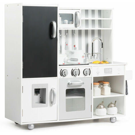 """main image of """"COSTWAY Large Kids Toy Kitchen, Wooden Pretend Cooking Food Set with Simulated Sound, Blackboard, Sink, Stovetop, Accessory Utensils, Children's Role Play for Boys Girls"""""""