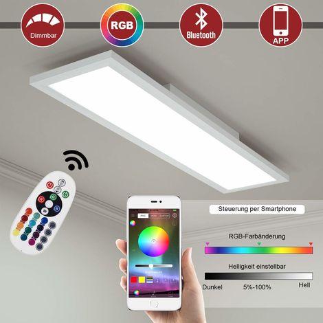 COSTWAY LED-Deckenleuchte, RGB-Lichtpaneel mit App-Steuerung, Bluetooth, Lichtwechsel mit Fernbedienung, bunt und dimmbar/ 2700K-6000K / 18W / 1300 Lumen / 196 Leuchtmittel / 30000H