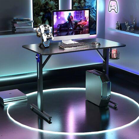 COSTWAY LED Gaming Tisch T-foermiger Computertisch PC Tisch Schreibtisch mit Controller-Staender und Getraenkehalter, schwarz