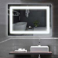 COSTWAY LED-Spiegel, Badezimmerspiegel, Badspiegel mit Beleuchtung, beleuchteter Wandspiegel, Spiegel Toilette Quadratisch