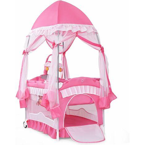 COSTWAY Lit Parapluie Bébé Pliant Lit de Voyage pour Bébé 2 Niveaux Muni de Moustiquaire de Yourte et Porte-couche Rose