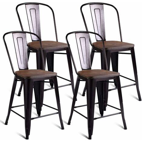 COSTWAY Lot 4 Chaises Industrielles en Métal avec Dossier Détachable Chaises pour Bistrot,Salle à Manger,Bar,Café 45CM X 52CM X 99CM Bronze