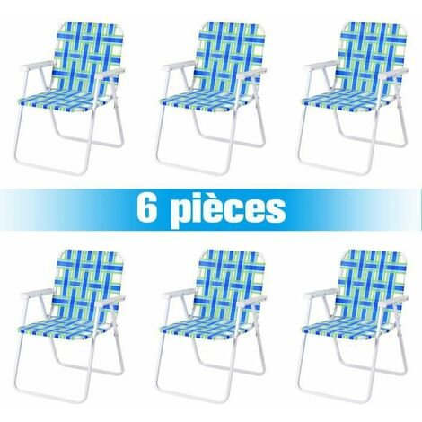 COSTWAY Lot 6 Chaises de Plage Pliantes avec Accoudoirs en Toile Acier en Forme de U Supporter 120 KG pour Camping /Plage/Parc