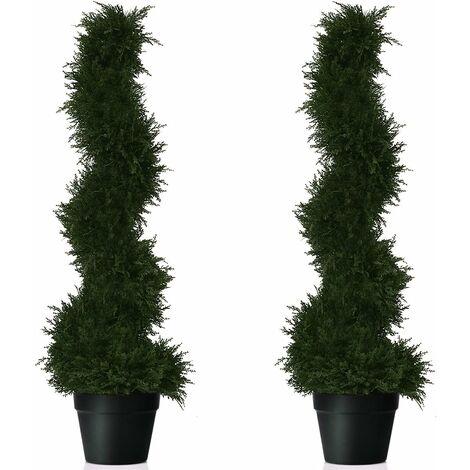 COSTWAY Lot de 2 Arbres Artificiel avec Pot 92CM Vert Fait en PE Résistats au Soleil Décoration pour Maison,Magasin, Bureau, Jardin