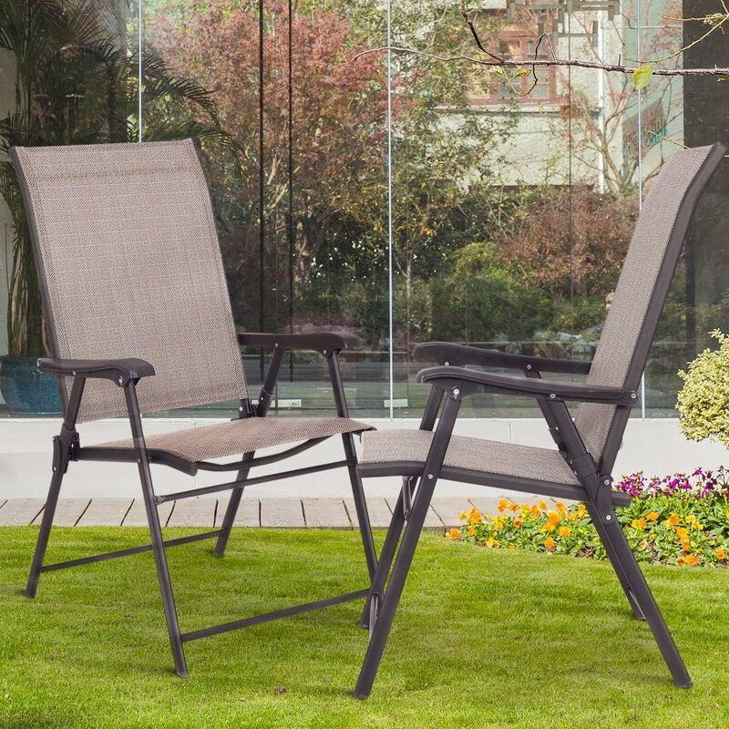Lot de 2 Chaises de Jardin Pliantes et Portables avec Accoudoirs, Siège en Textilène Respirante Confortable, Cadre en Acier pour Jardin, Terrasse ou