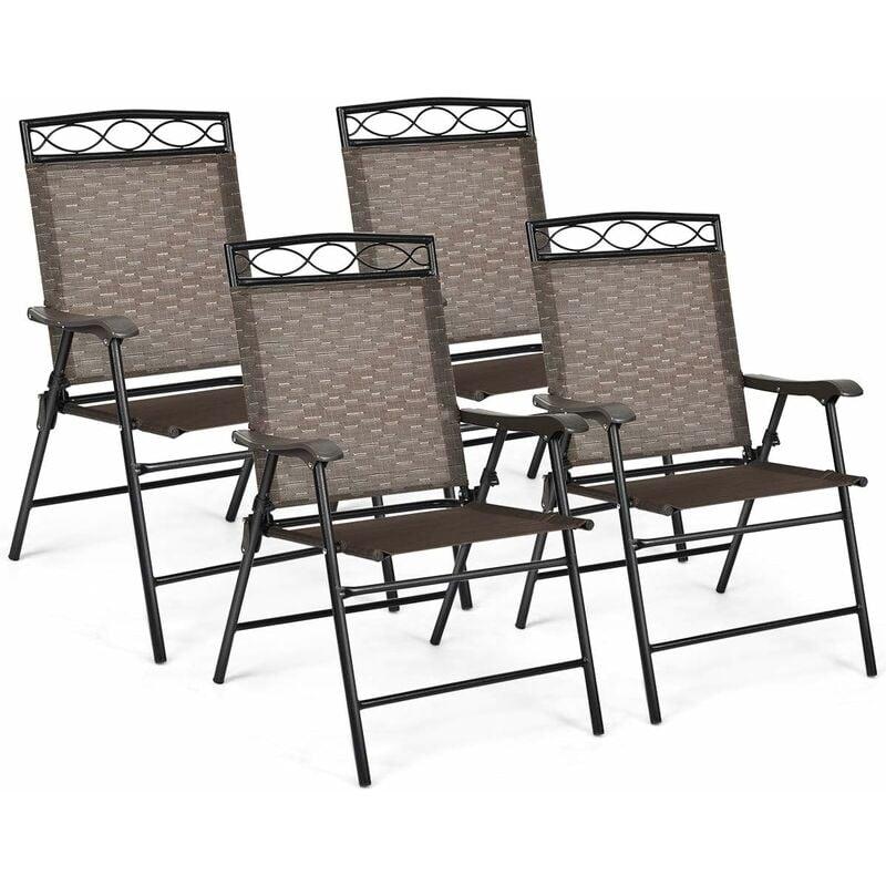 Lot de 4 Chaises de Jardin Pliantes et Portables avec Accoudoirs, Siège en Textilène Respirante Confortable, Cadre en Acier pour Jardin, Terrasse ou