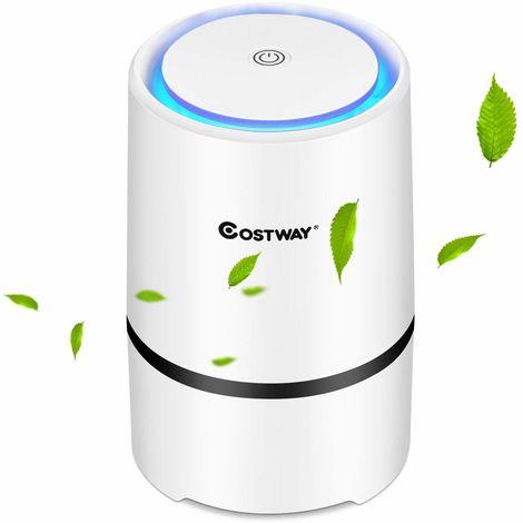COSTWAY Luftreiniger, Air Purifier mit 2 Geschwindigkeiten, Desktop-Luftfilter 2-Stufen-Filterung, Raumluftfilter Zuhause oder Buero
