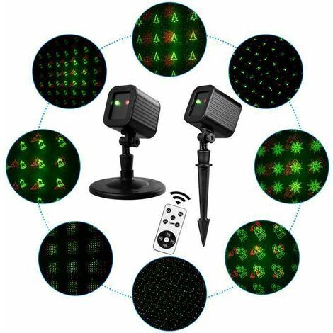 COSTWAY Lumière Laser de Jardin avec 2 Couleurs et 8 Motifs à Angle Réglable Étanche IP44 Décoration de Noël Extérieure
