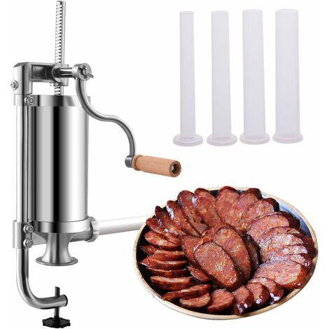 COSTWAY Machine à saucisses Poussoir à Saucisse 1.5L Viande hachée 4xTubes (Ø 15/19/22/25 mm) en acier inoxydable