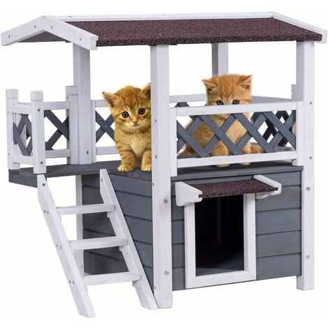 COSTWAY Maison pour Chat en Bois 70x50x73CM Gris+Blanc à 2 Niveaux avec Balcon,Escalier et Niche Toit d'Asphalte Etanche Extérieur