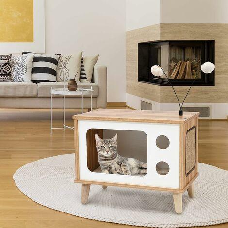 COSTWAY Maison pour Chat en Bois Forme de Téléviseur Niche pour Chat sur Pied avec Grattoir Coussin Moelleux et Jouets Amovibles