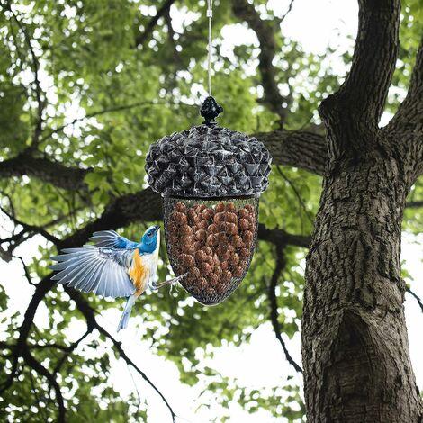 COSTWAY Mangeoire à Oiseaux en Forme de Gland à Suspendre en Résine avec Fil d'Acier Inoxydable et Grillage en Fer pour Cour, Jardin