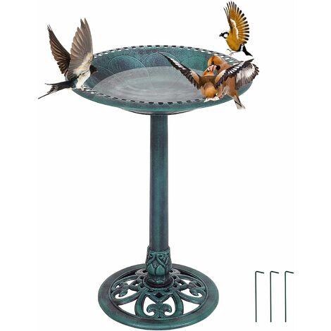 COSTWAY Mangeoire à Oiseaux sur Pied, Bain pour Attire Oiseaux avec Une Plateau de Diamètre 51cm, Hauteur 72CM, Design Antique Vert