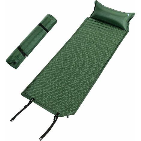 COSTWAY Matelas Camping de Gonflable Tapis de Couchage Autogonflant avec Oreiller 191x69x3 CM- 1 Personne, Ultra Léger Vert
