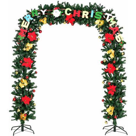 COSTWAY Merry Welcome Portique Porte de Noël Arc Décoration Noël Magasin Décoré Arbre de Noël avec LED et Père Noël (228 x 152cm)