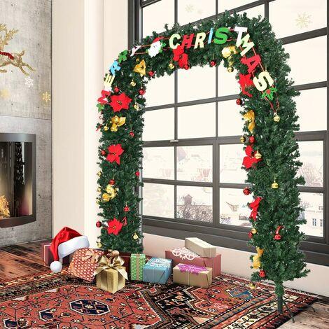 COSTWAY Merry Welcome Portique Porte de Noël Arc Décoration Noël Magasin Décoré Arbre de Noël avec LED et Père Noël (228 x 203cm)