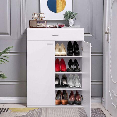 COSTWAY Meuble à Chaussures avec 3 Etagères Réglables en Hauteur Armoire à Chaussures avec 2 Portes de Style Moderne pour Salon,Bureau,Entrée, 80,3 x 37 x 111,7 CM, Chêne et Blanc