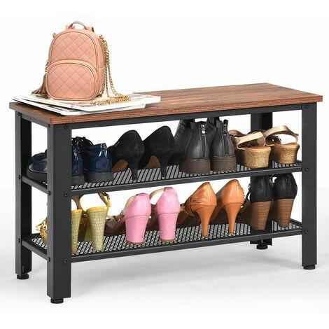 COSTWAY Meuble à Chaussures avec Banc et 3 Etagères de Rangement,en Bois+Métal,Style Indutriel 4 Pieds Réglables Anti-Rayures 73x30x45CM