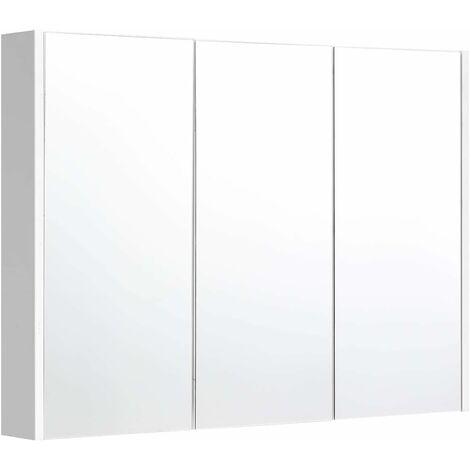 COSTWAY Meuble à Miroir Armoire de Salle de Bain 90x11x65 CM (LxPXH) Meuble Rangement de Toilette avec Miroir Murale 3 Portes