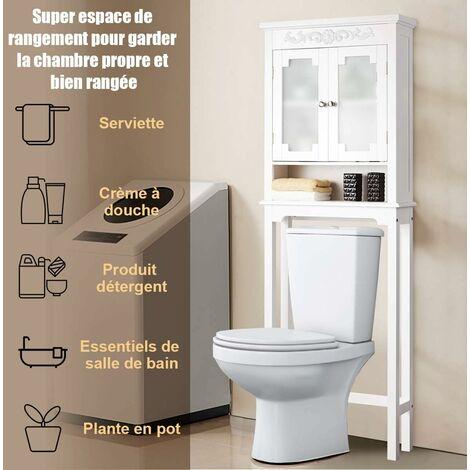 COSTWAY Meuble Dessus Toilette Colonne PONT WC Armoire /Machine à Laver avec 2 Portes en Verre Blanc 61 x 19 x 170 CM