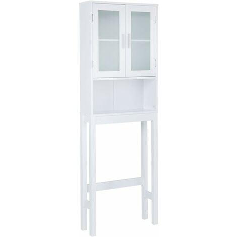 COSTWAY Meuble dessus toilettes WC 2 portes Armoire de toilette Étagère de salle de bain