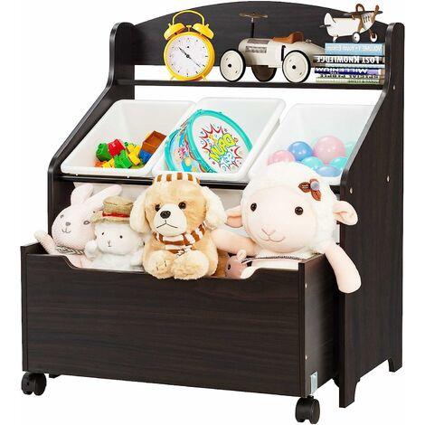 COSTWAY Meuble Rangement à Jouets avec Roulettes et 3 Bacs pour Ranger Livres/Jouets Conçus pour Chambre d'Enfant, Maternelle