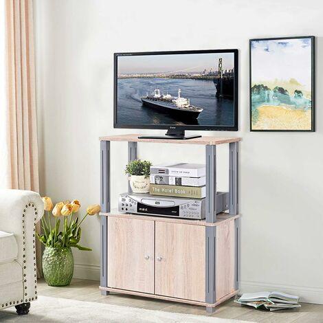 Costway Meuble Tv Avec Compartiments En Bois Armoire De