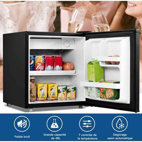 COSTWAY Mini Réfrigérateur Silencieux 48L Table Top Intégrable Classe A+ Noir 47 x 45 x 50 cm (L x l x H) pour Chambre ou Hôtel
