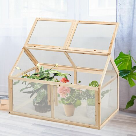 COSTWAY Mini Serre de Jardin 100x53x71CM Vitrages Transparents en Polycarbonate Plateau Supérieur Amovible pour Jardin/Balcon/Porche