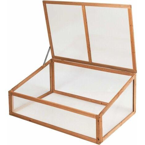 COSTWAY Mini Serre de Jardin en Bois 100x65x40CM Plateau Supérieur Amovible Vitrage Transparent en Polycarbonate pour Jardin/Balcon