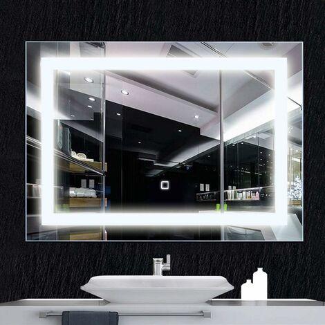 COSTWAY Miroir Salle de Bain Rectangulaire Mural 70 x 50 CM avec Eclairage LED Intégré et Commutateur Intellignet Blanc en Verre