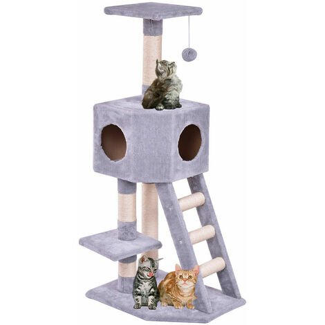 COSTWAY Multi Level Cat Tree, Cats Tower with Sisal Scratching Posts, Condo, Ladder and Hanging Toy, Kittens Activity Centre for Climbing, Scratching, Sleeping (50 x 35 x 110cm)