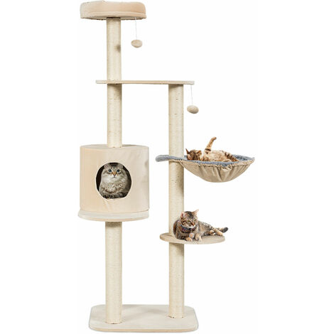 COSTWAY Multi-Level Cat Tree, Kitten Climbing Tower with Sisal Scratching Posts, Plush Perch, Condo, Basket Lounger and Hanging Toys, Cats Furniture Activity Center Play House (Beige)
