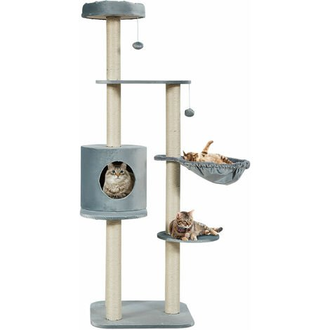 COSTWAY Multi-Level Cat Tree, Kitten Climbing Tower with Sisal Scratching Posts, Plush Perch, Condo, Basket Lounger and Hanging Toys, Cats Furniture Activity Center Play House (Grey)