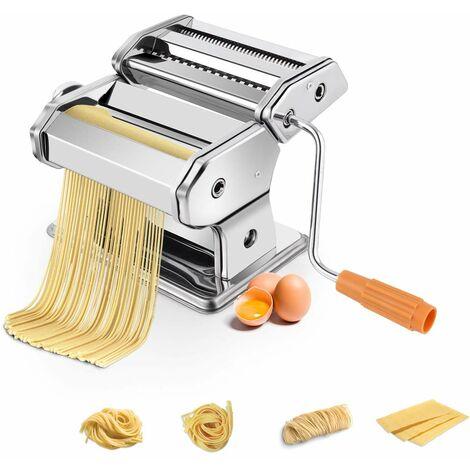 COSTWAY Nudelmaschine manuell, Pastamaschine aus Edelstahl, Pastamaker 6 Nudelstaerke, Küchengeraet Silber, Kueche Maschine inkl. Tischklemme, Spaghetti Nudeln Pasta Maker 20,5 x 20,5 x14 cm