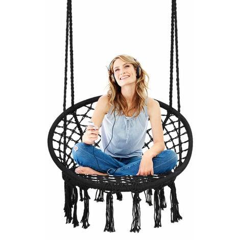 COSTWAY Outdoor & Indoor Hammock Chair, Hanging Cotton Rope Macrame Swing Chair