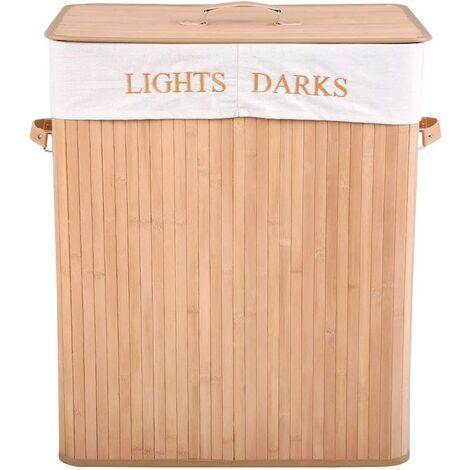 COSTWAY Panier à Linge 105L Bambou Naturel2 Compartiments en Tissu Panier de rangement pour Les Vêtements