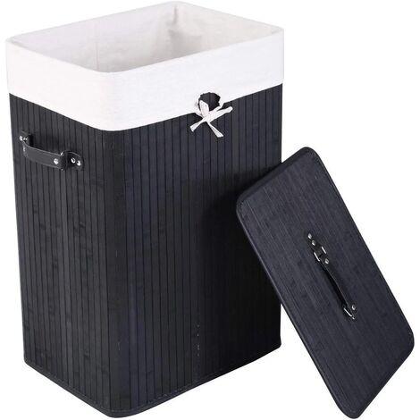 COSTWAY Panier à linge sac à linge corbeille en bambou 70L 40x30x60cm
