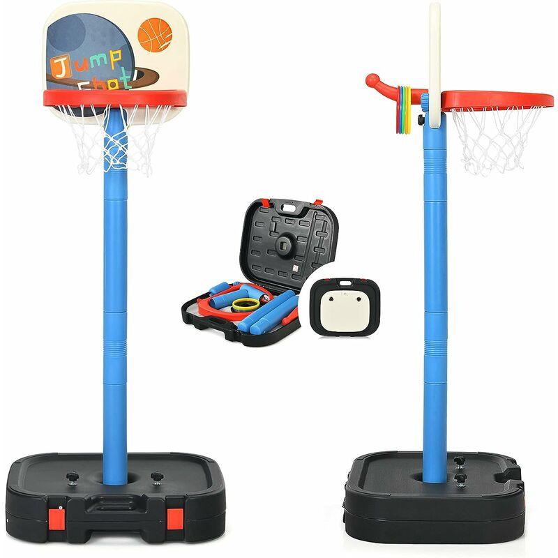 COSTWAY Panier de Basketball 2 en 1 Hauteur Réglable pour Enfants avec Jeu de Lancer d'Anneaux en HDPE pour Intérieure/Extérieure
