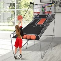COSTWAY Panier de Basketball Pliable Jeu de Basketball Arcade Double Panier et 4 Ballons Score Electronique 202x107x205cm