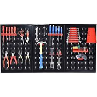 COSTWAY Panneau outil stockage rank mural support outil mural noir/rouge rangement outil boîte outil 17 PIC