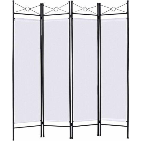 COSTWAY Paravent Intérieur Séparateur de Pièce Fer Cloison Pliable 4 Panneaux en Toile Polyester 180 cm x 160 cm Blanc